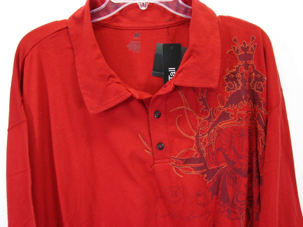 Nwt sleek red jf j ferrar mens big tall polo shirt size for Big size polo shirts