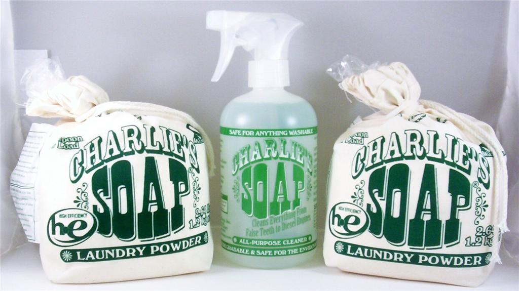 Charlie's Soap Laundry Detergent Powder 80 Loads Bag & 17 oz. All Purpose Cleaner Spray
