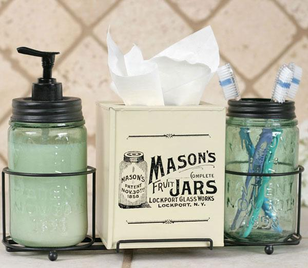 Country primitive mason jar caddy bathroom set soap for Bathroom decor mason jars