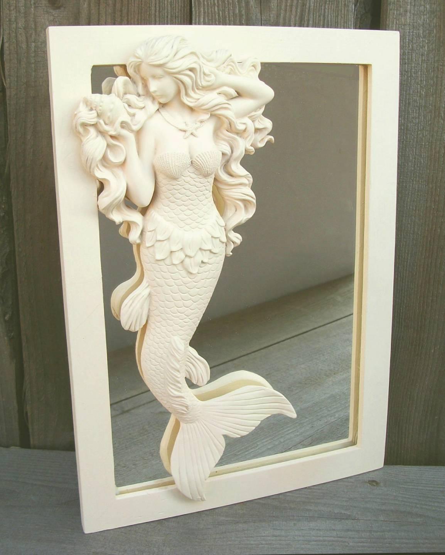 beautiful flowing hair mermaid wall mirror nautical beach house home decor - Mermaid Home Decor