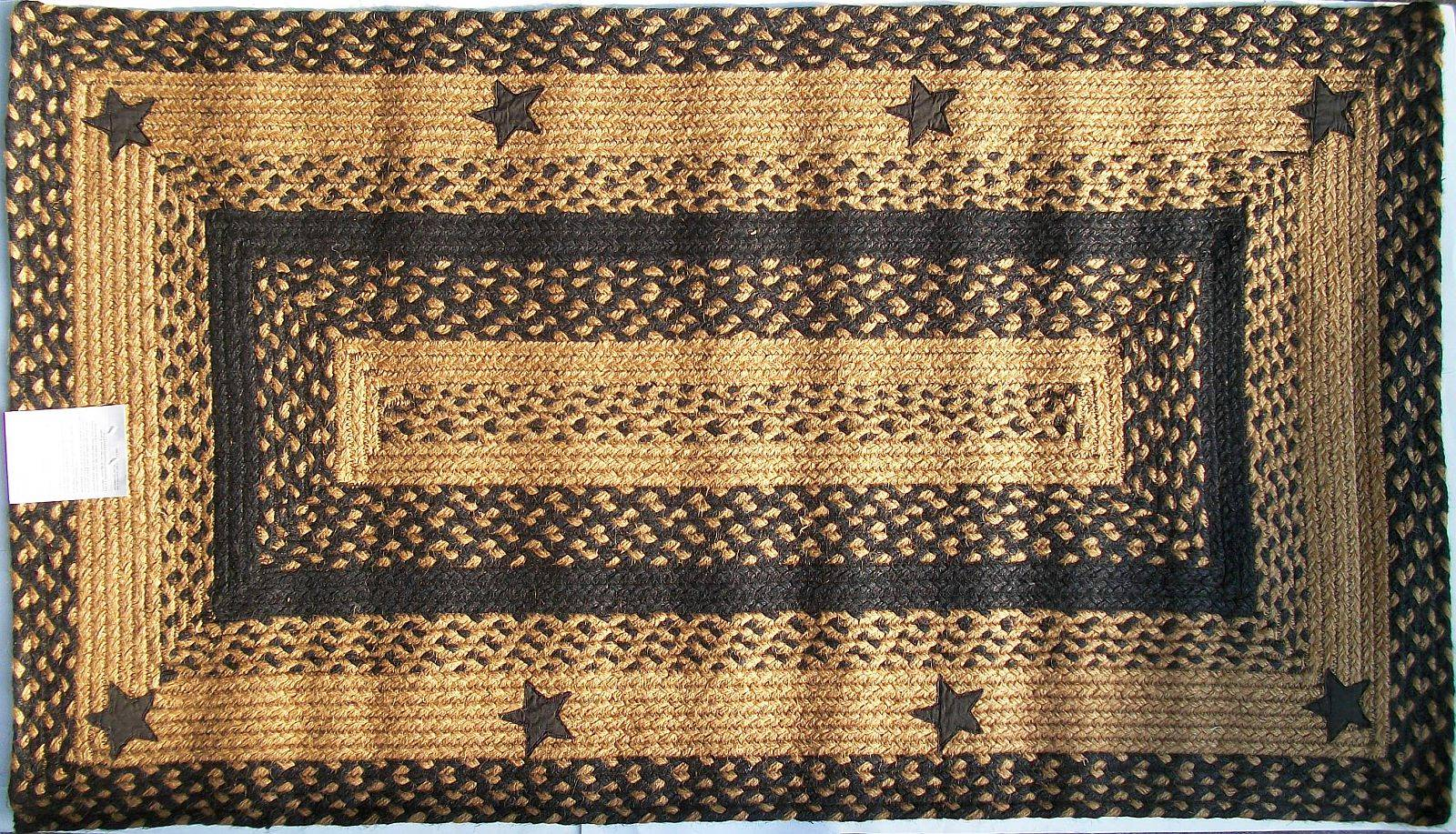 Ihf applique star black tan braided jute rug rustic primitive country home decor ebay - Rugs and home decor decor ...