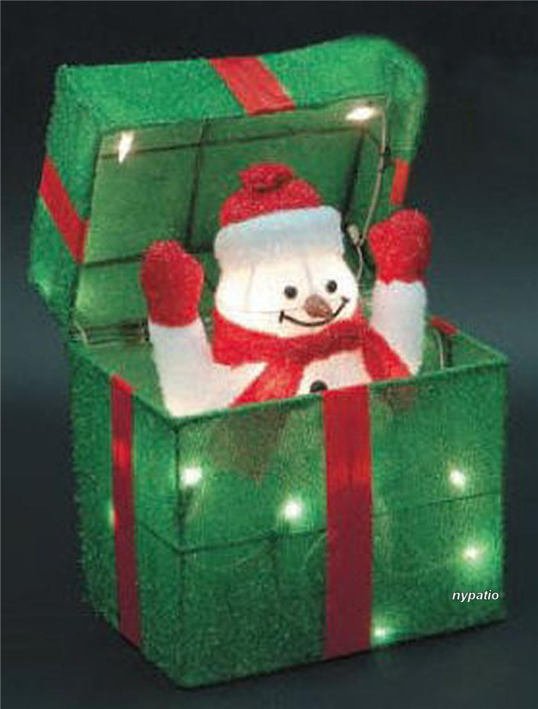 Animated snowman gift box lighted tinsel indoor outdoor for Outdoor lighted christmas ornaments