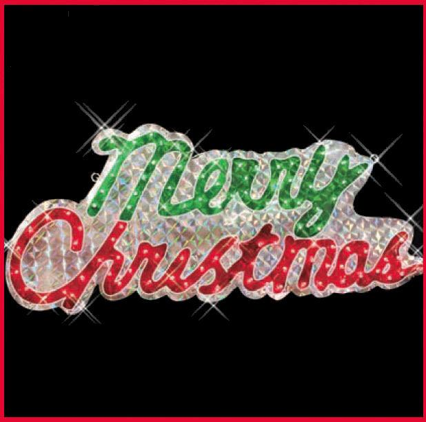Large merry christmas sign holographic46 100 lights indoor for Large outdoor christmas signs