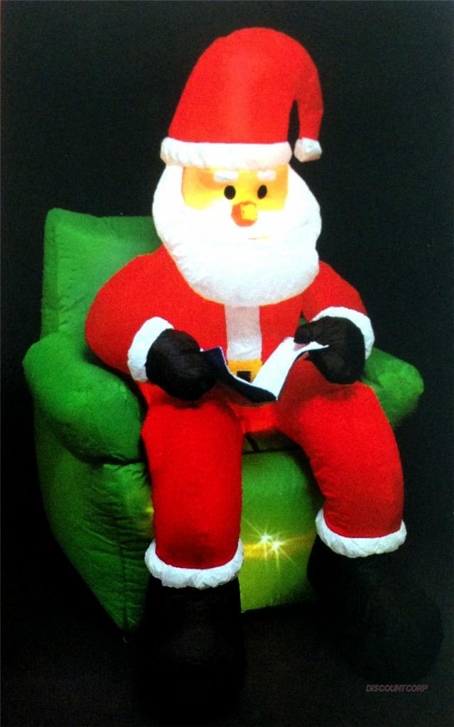 Ft airblown inflatable lighted santa on chair outdoor