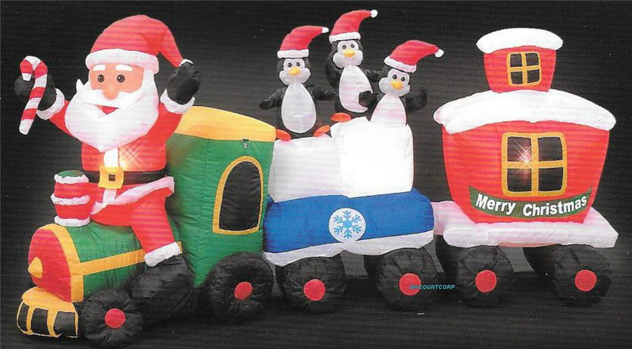96 inflatable santa train penguins lighted outdoor for Outdoor christmas train decoration