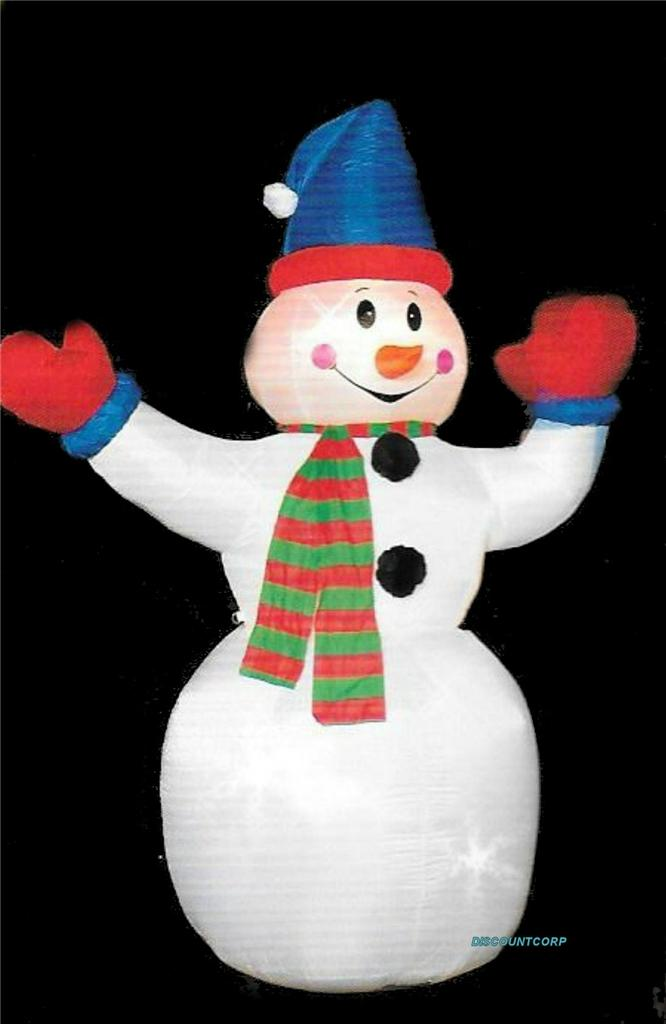 96 inflatable animated snowman with waving hand lighted for Animated snowman decoration
