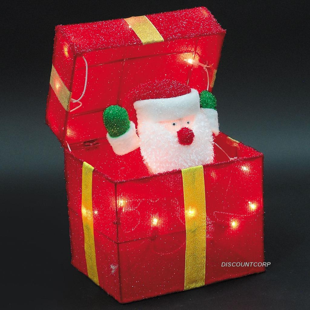 Lighted christmas gift boxes yard decor - Animated Santa Or Snowman Lighted Gift Box Outdoor