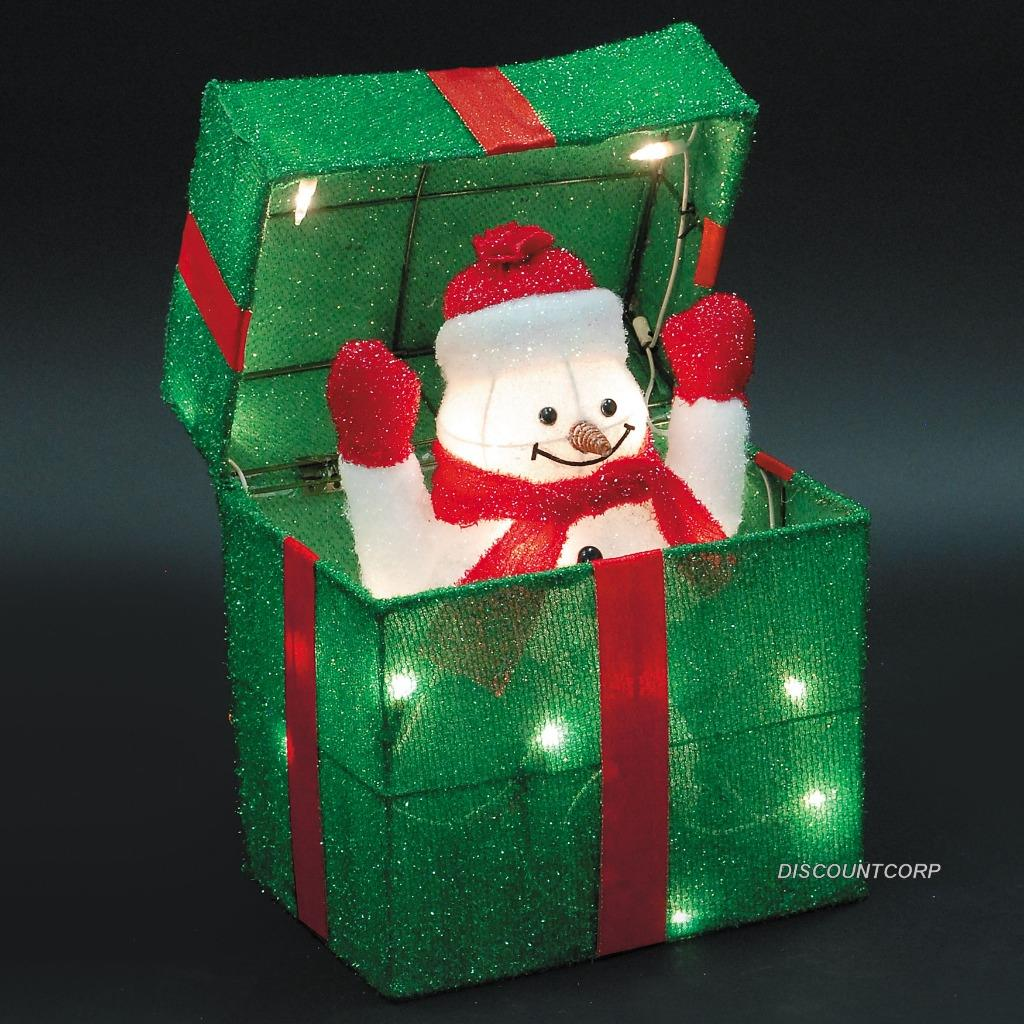 Animated santa or snowman lighted gift box outdoor for Animation decoration noel