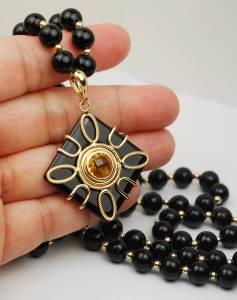 14K Black Onyx Necklace with Gemstone Enhancer