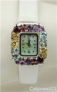 NEW ARIA 5.35 carat MULTI GEMSTONE STERLING WHITE LEATHER STRAP WATCH