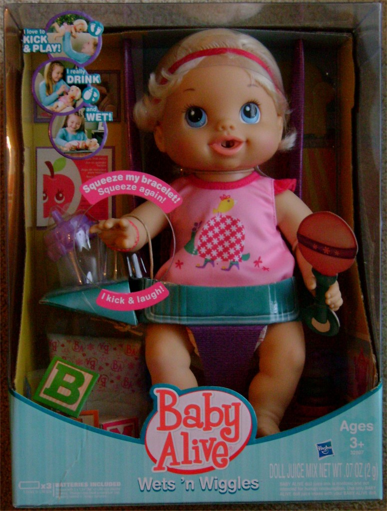 Baby alive blonde wets n wiggles doll new sealed box accessories drink
