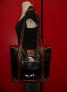 Vintage BRAHMIN Black Leather Croco LARGE Tote Satchel Purse Bag