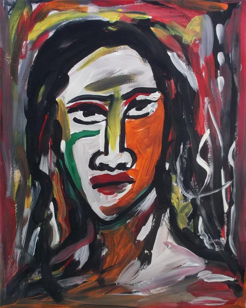 Nice original acrylic painting outsider art portrait by for Nice acrylic paintings