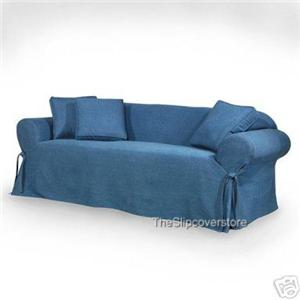 New blue jean denim like sofa loveseat slipcovers ebay Blue loveseat slipcover