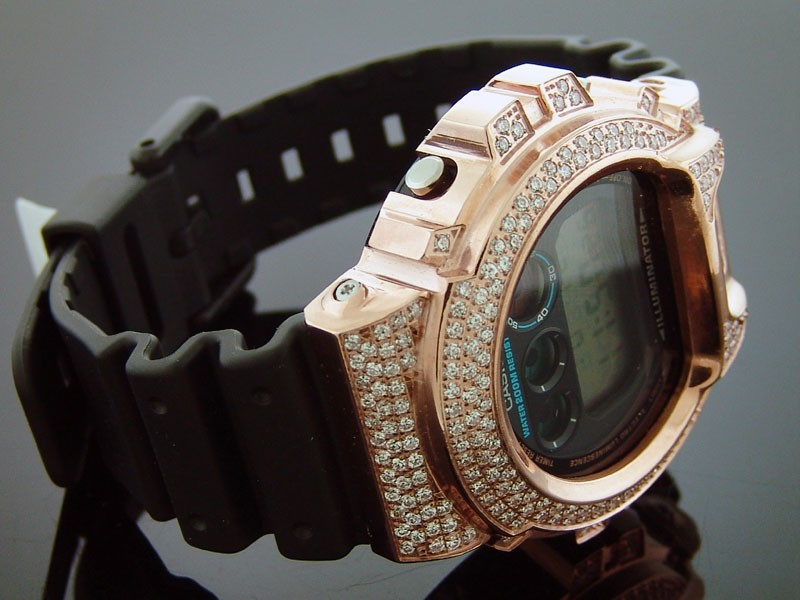 men casio g shock high quality cz white crystal rose gold case does not apply