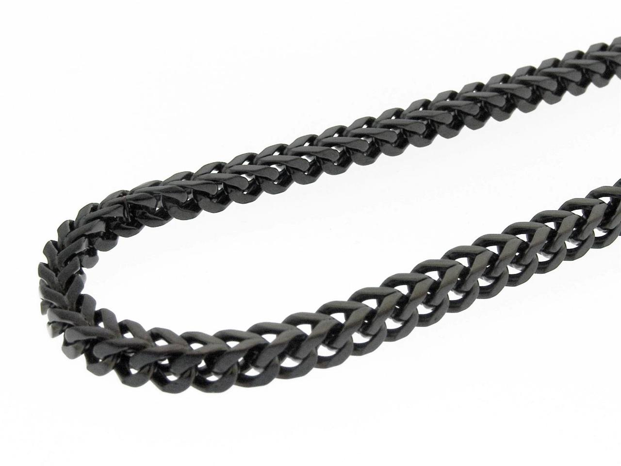 Men s cuban black polished stainless steel mm wide