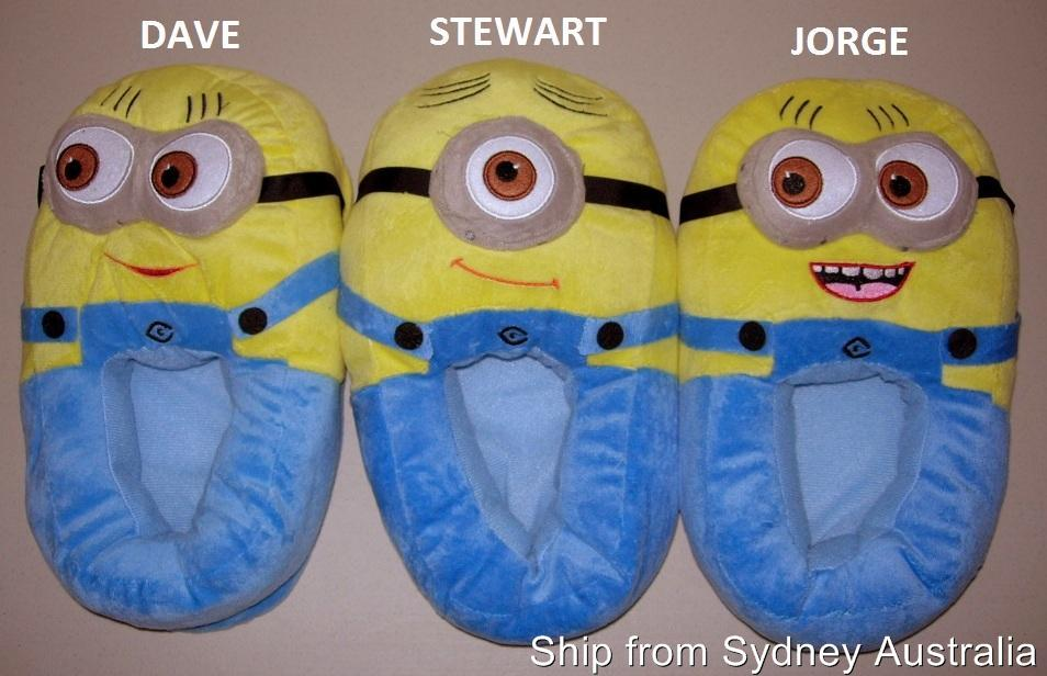 New-Dave-Jorge-Stewart-DESPICABLE-ME-Minions-Adult-11-Plush-Slippers-3D-Eyes