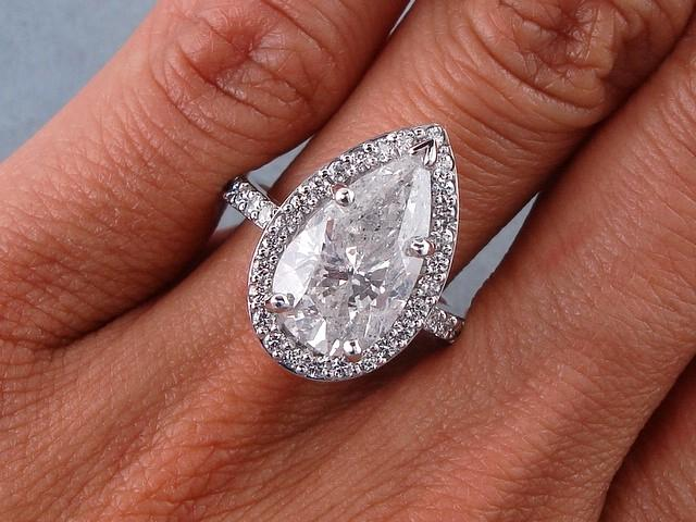 4 40 CARATS CT TW PEAR SHAPE DIAMOND ENGAGEMENT RING F SI3
