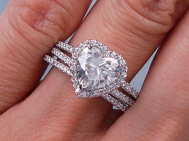 2 13 CT TW HEART SHAPE DIAMOND ENGAGEMENT WEDDING RING SET G SI2