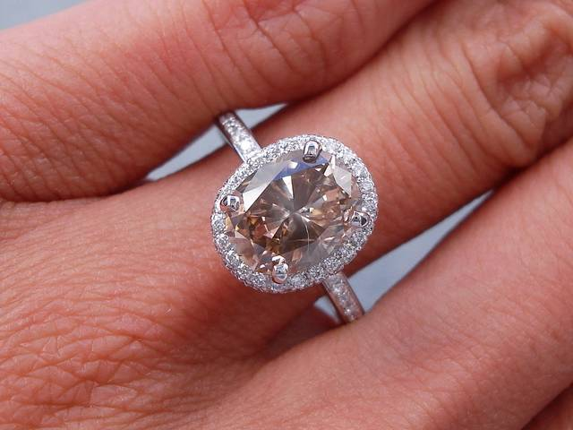 2 32 CARATS CT TW OVAL CUT DIAMOND ENGAGEMENT RING NATURAL CHOCOLATE SI1