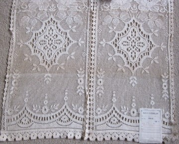 2 1930s vintage cotton lace curtain panels for 1930s bay window curtains