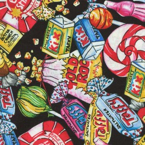 Retro Novelty Candy On Black Cotton Fabric Bty For