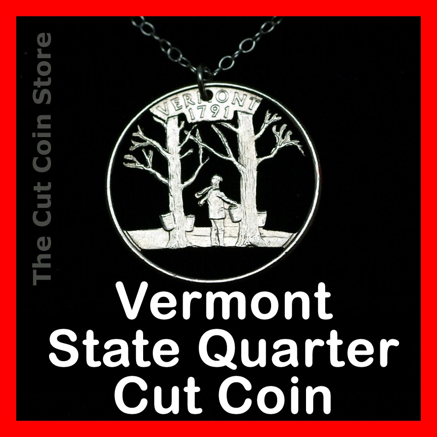 vermont maple syrup 25 162 vt quarter cut out coin charm