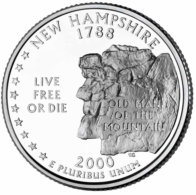 New Hampshire 25 162 Nh Quarter Cut Coin Necklace Granite