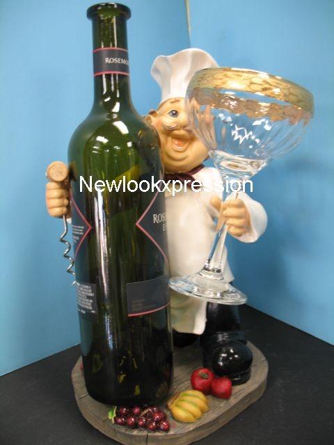Italian Fat Chef Glass Wine Holder Bistro Decor Bar Set