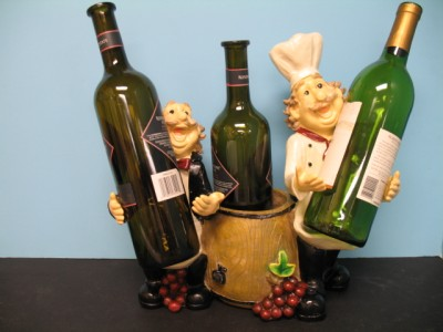 3d Italian Fat Chef Wine Holder Decor Bistro New Bar