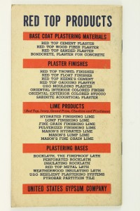 Vintage advertising paper time book us red top cement for Red top gypsum plaster