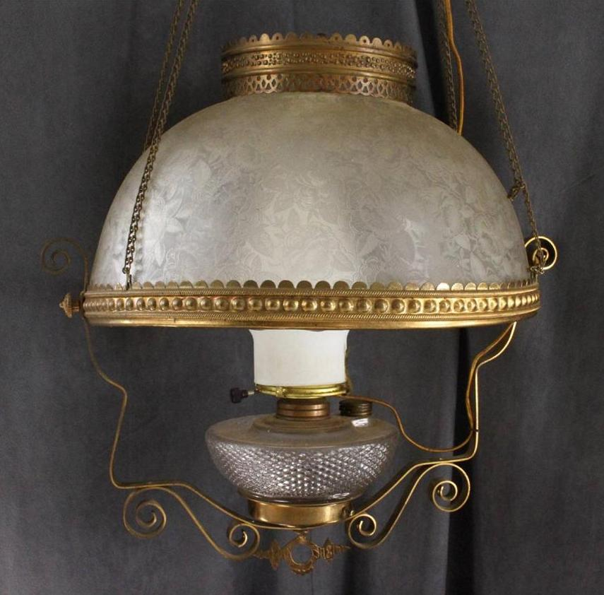 Antique Hanging Brass Library Oil Electric Lamp Tanner