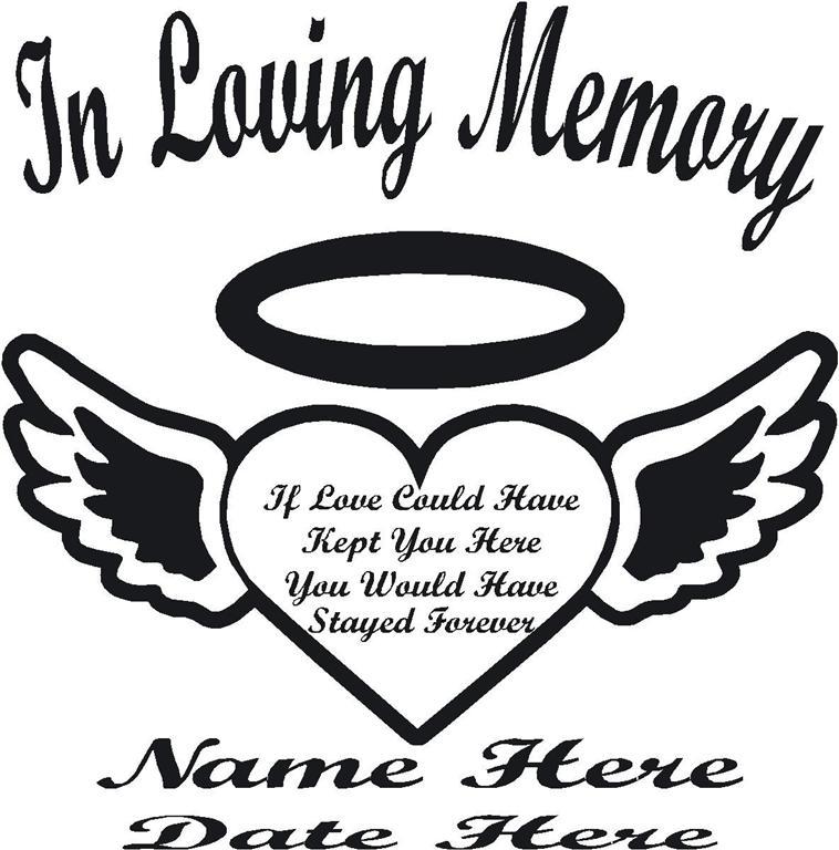 In Loving Memory Heart & Wings Window Decal Sticker Wall ... In Loving Memory Graphics