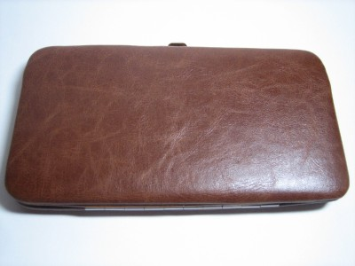 Brown Slim Hard Case Flat Opera Vinyl Clutch Wallet Ebay