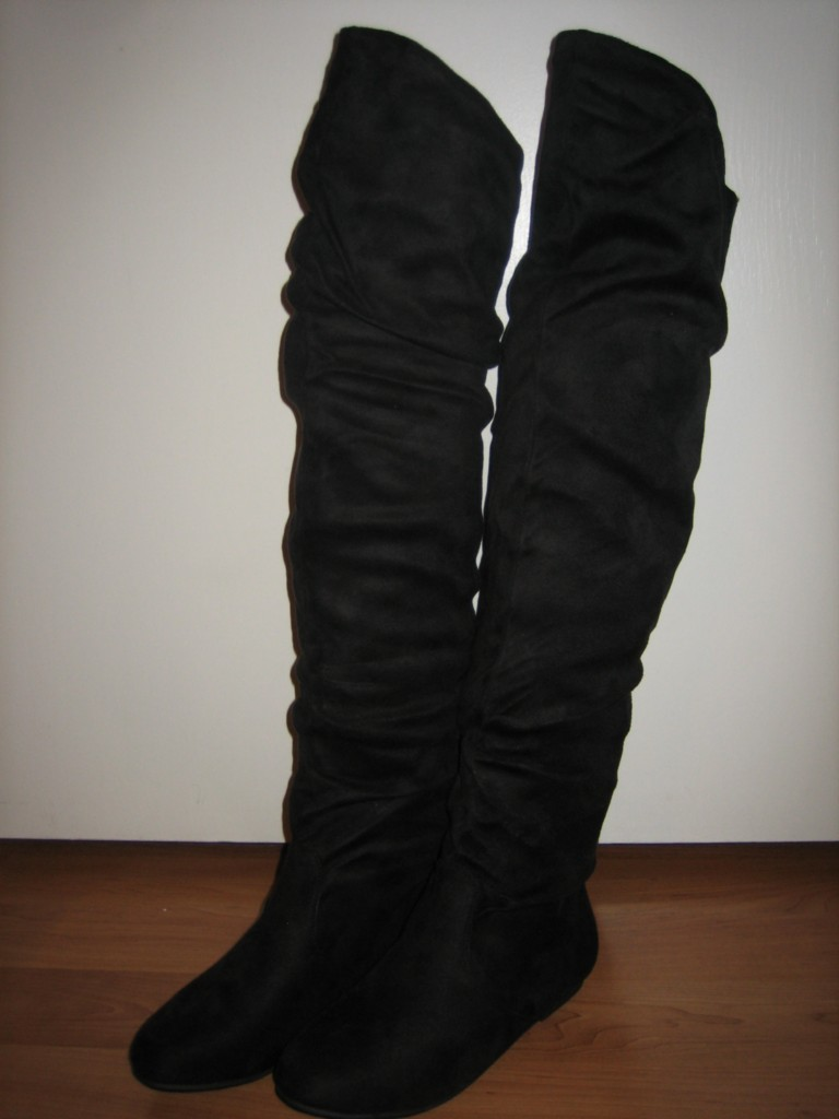Flat Suede Thigh High Boots