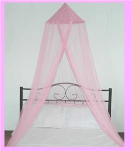 Details about gorgeous pink polka dot topped mosquito net perfect for