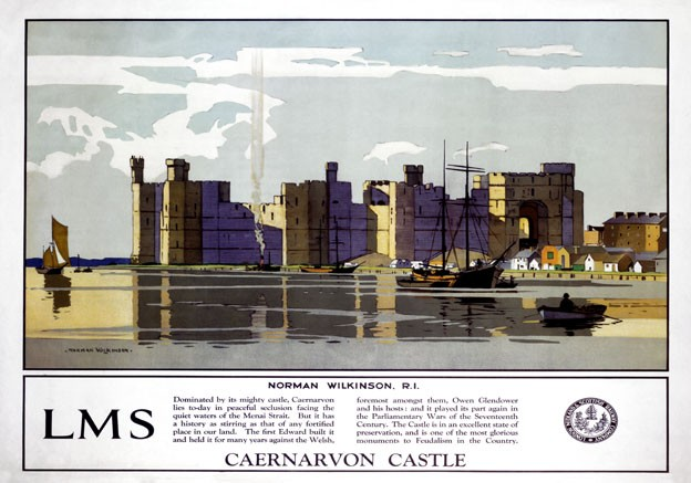 Caernarvon-Castle-Wales-Vintage-LMS-Travel-Poster-print-by-Norman-Wilkinson