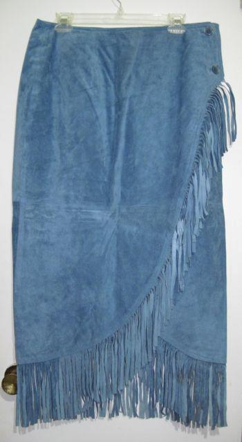 womens styleworks blue suede leather fringe wrap