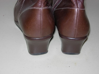 KENNETH COLE REACTION Brown Leather Winter DRESS BOOTS 2 Wedge