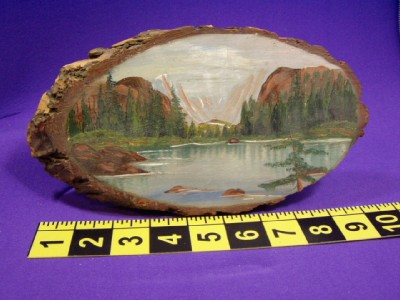 Bear Lake Estes Park R.A. Shoup Log Slab Art Painting