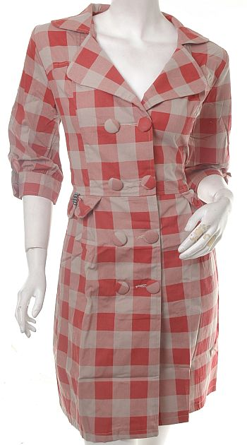 Antidote-Clothing VINTAGE LK 50S ROCKABILLY PLAID TRENCH COAT DRESS BOW L :  long coat coat dress fashion trench coat dress
