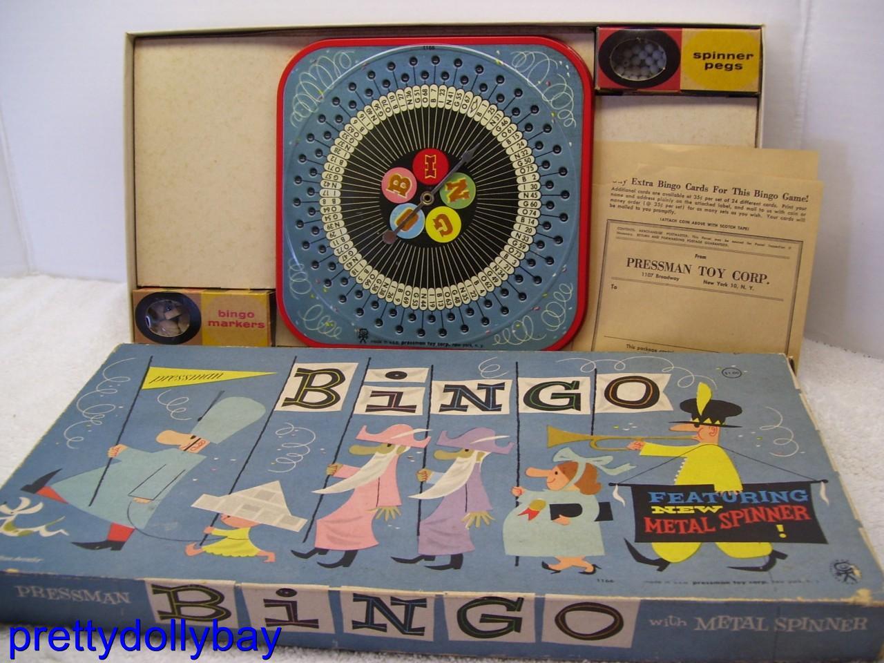Board Games Toy : Vtg s bingo metal spinner board game pressman toy nyc ebay