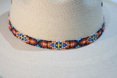 02722 beaded western hat band arrow cowboy