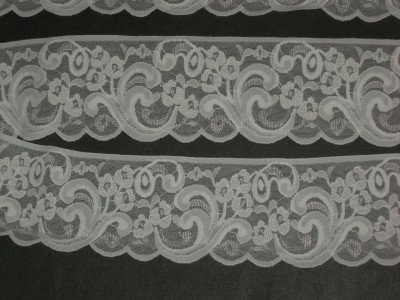 White Scalloped Stretch Lace Trimming Fabric 3 1 2 Quot By The