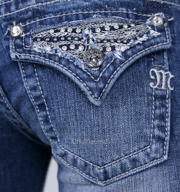 Miss-Me-Jeans-Capris-Pewter-Stud-Crystal-Wave-Denim-Cuff-Crop-Pant-JP6092P