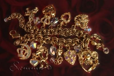 Kirks Folly Gold Crystal Crown Knight Unicorn Heart Charm Bracelet