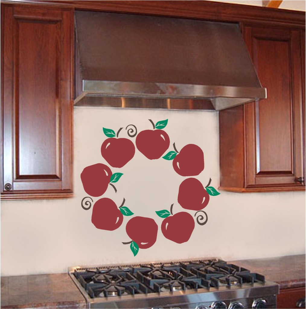 Apple wreath kitchen wall sticker vinyl decal decor art ebay for Apple kitchen decoration set