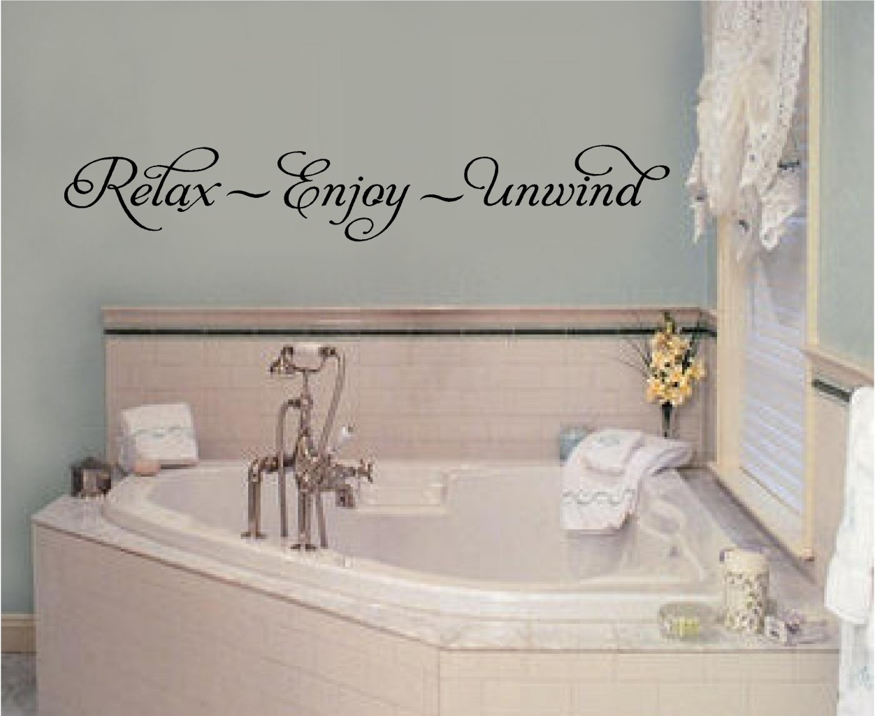 Relax enjoy unwind vinyl wall decal stickers letters for Bathroom wall decor quotes