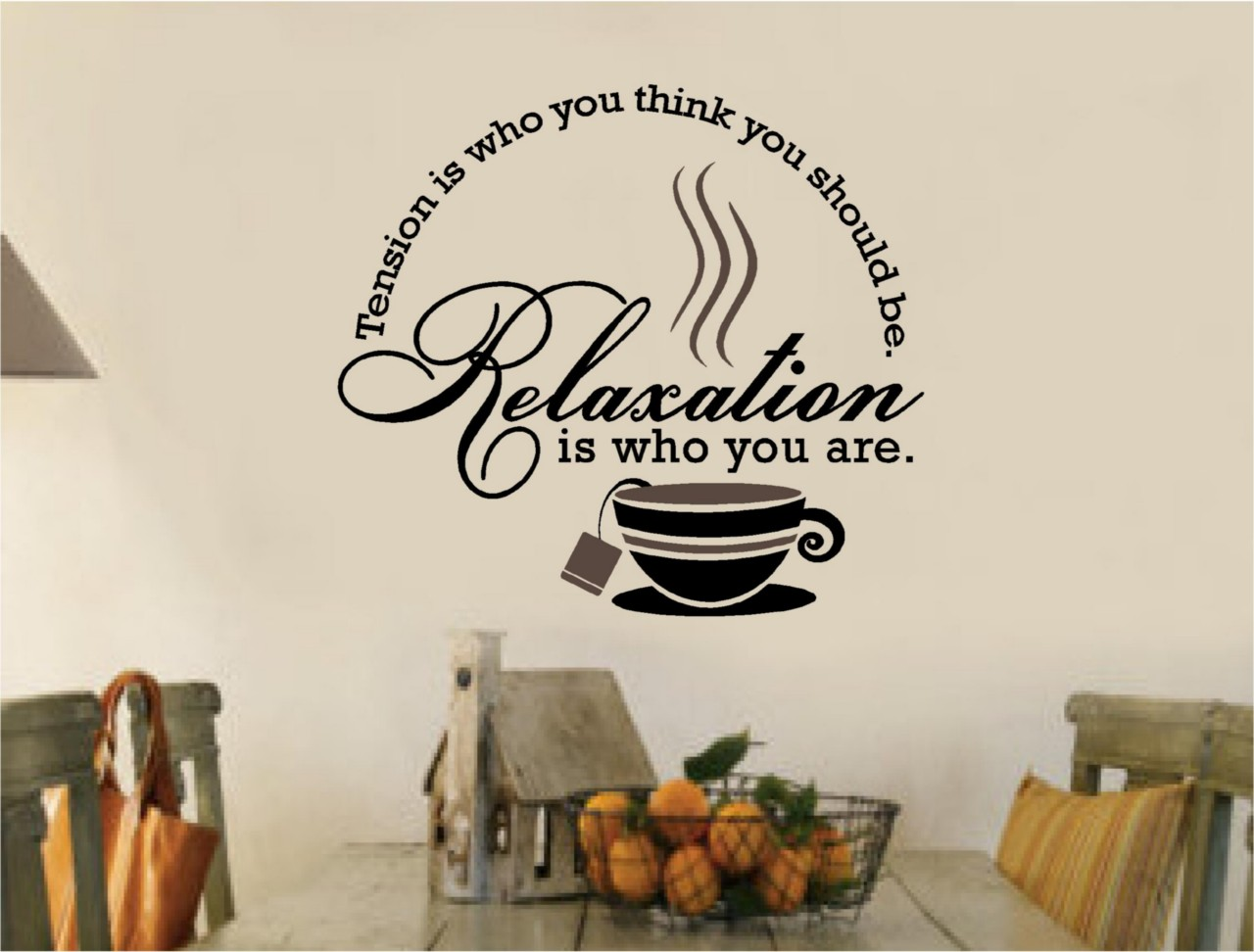 Tea coffee stickers vinyl wall decal words kitchen ebay for Mural coffee