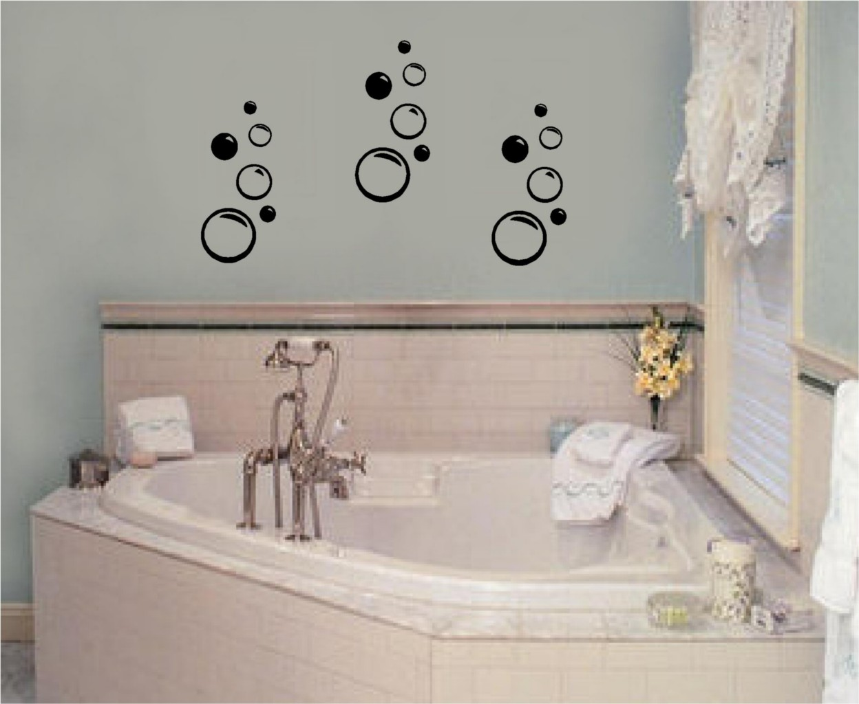 Bathroom Wall Art Bubbles : Bubbles vinyl wall decal stickers decor bathroom art